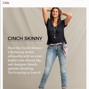 Cabi Jeans Cinch Skinny Paint Spattered